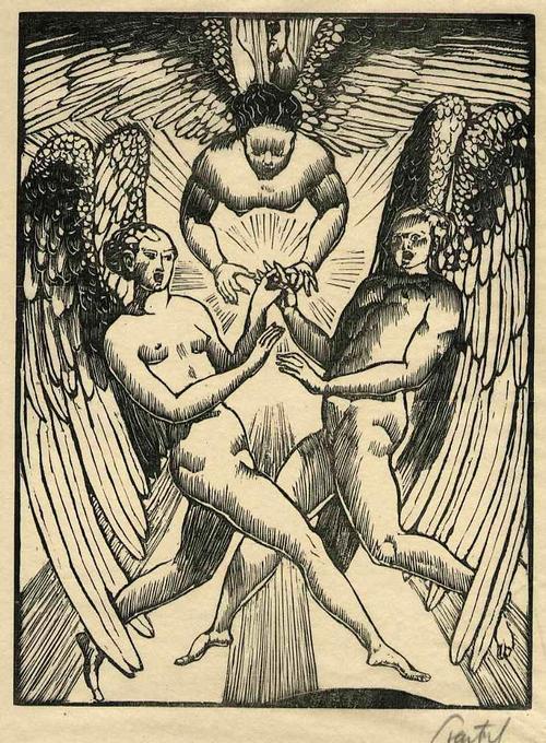 Walter Teutsch - ENGEL RAUSCHEN - Handsignierter OriginalHolzschnitt des NS-Verfemten EXPRESSIONISTEN 1919 kopen? Bied vanaf 85!