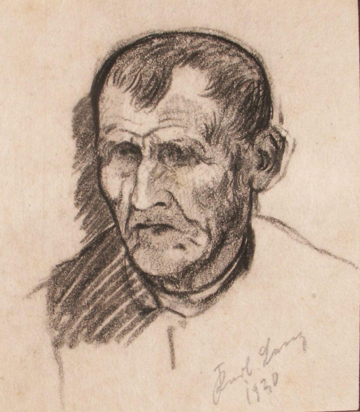 Karl Lenz - Erdhausen, Schwalm, Bauernportrait von 1930, Kohlezeichnung, handsign. kopen? Bied vanaf 90!