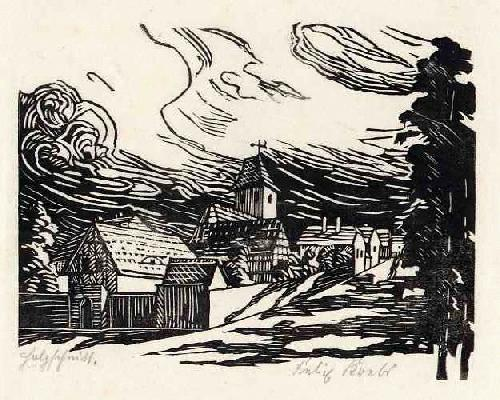Felix Krebs - Expressionistische DORFLANDSCHAFT - handsignierter OriginalHolzschnitt des LEIPZIGERs aus WEIMAR kopen? Bied vanaf 42!