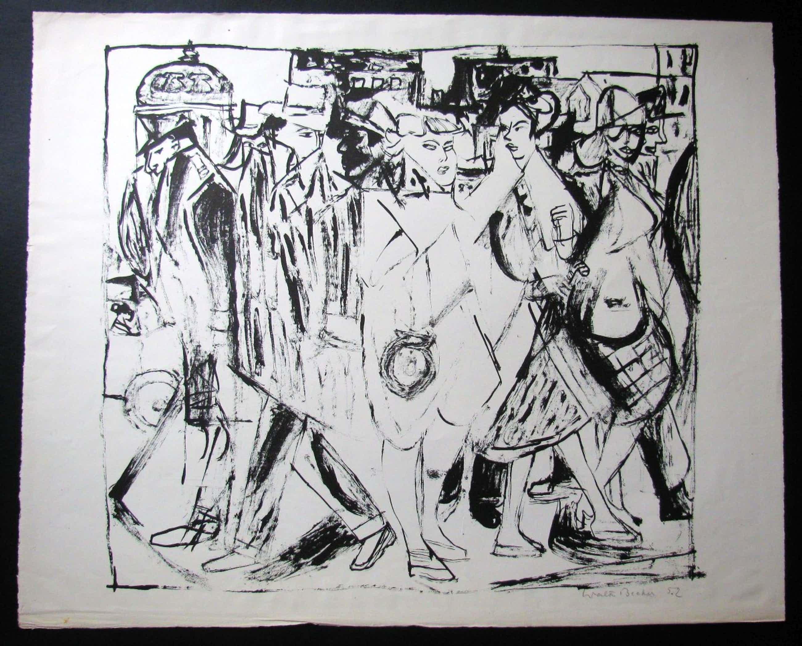 Walter Becker - Expressive , feudale Personengruppe , 1952 signiert . kopen? Bied vanaf 200!