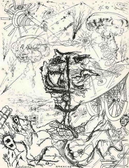 Armand Nakache - FANTASTISCH EXPRESSIONISTISCHE KRITZELEI Handsignierte Druckgraphik auf ARCHES-Bütten 1962 kopen? Bied vanaf 35!