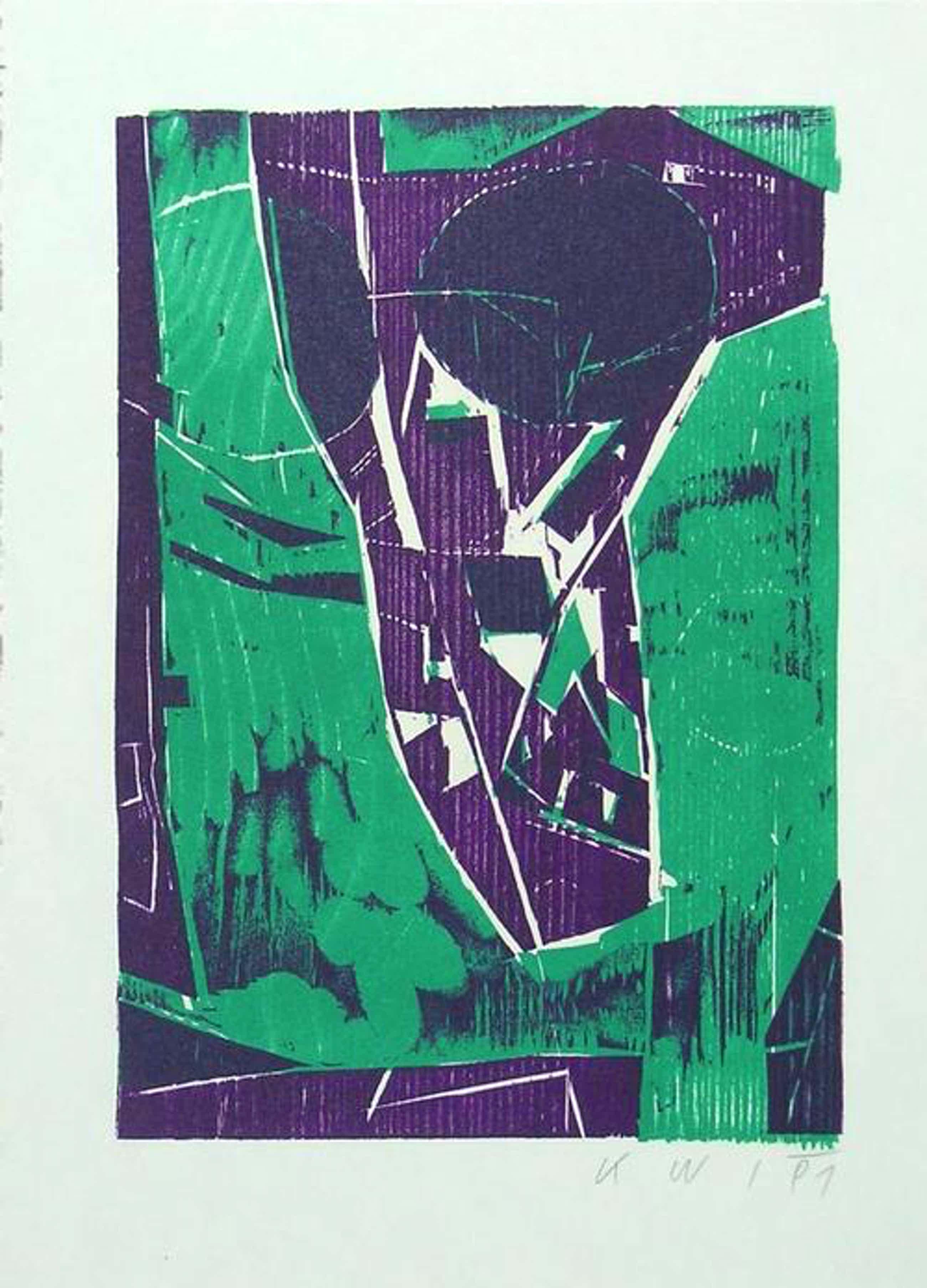 Konrad Winter - Farb-Holzschnitt, 1991, handmonogramm, kopen? Bied vanaf 90!
