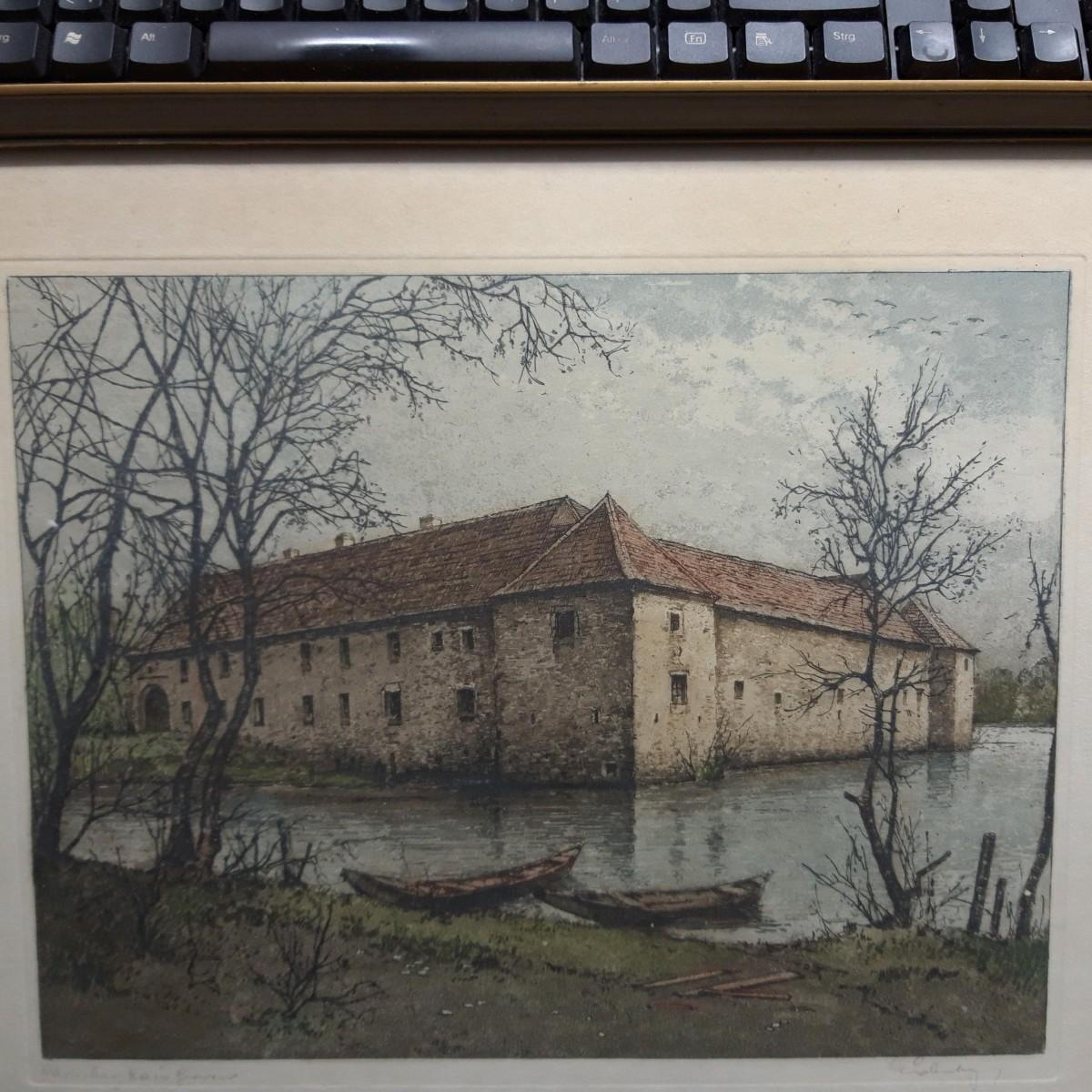 Josef Eidenberger - Farb-Radierung, handkoloriert, signiert. Wasserburg Haus Graven kopen? Bied vanaf 198!