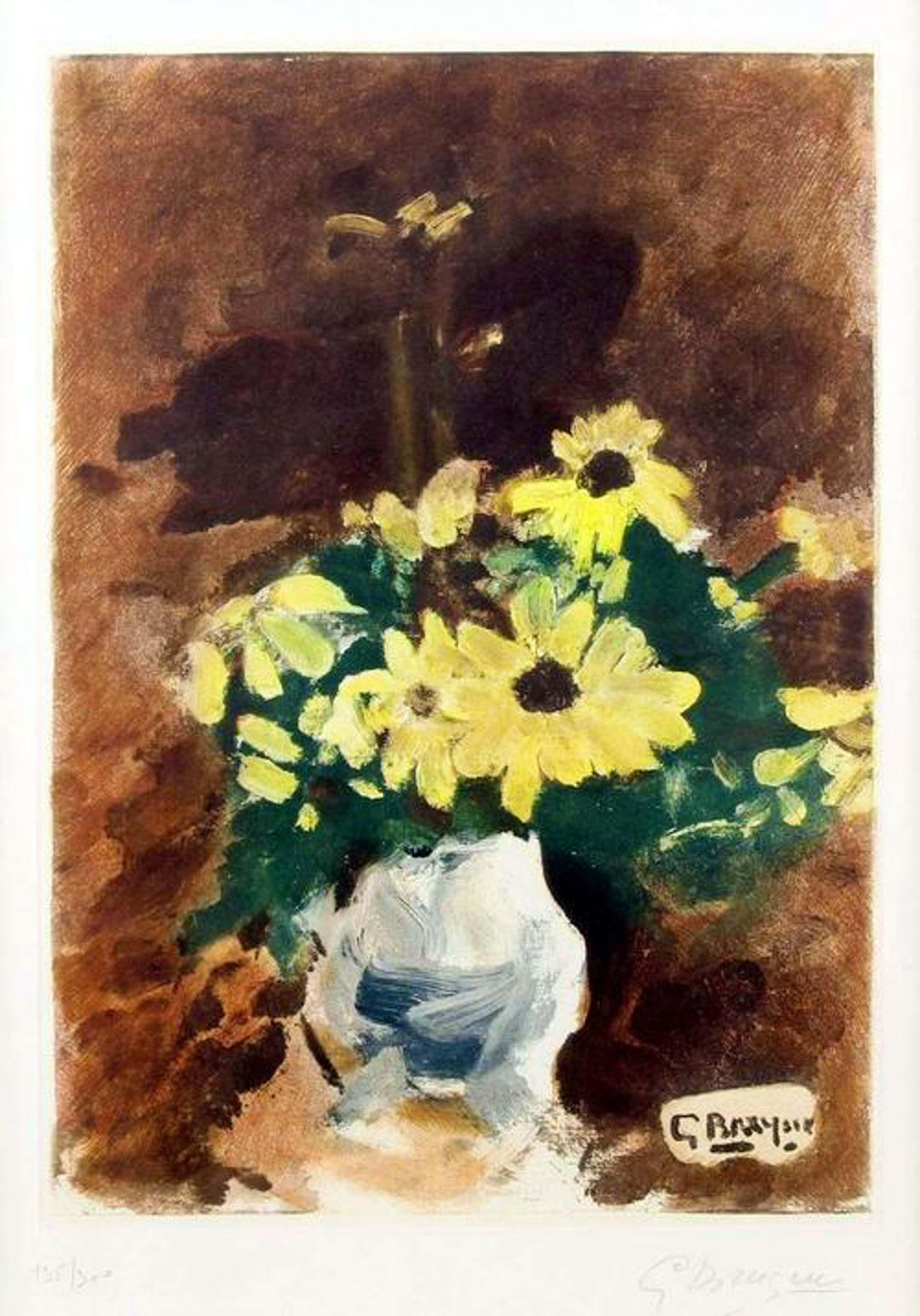 Georges Braque - Farbaquatinta, Vase de fleur jaunes, 1955 kopen? Bied vanaf 1900!
