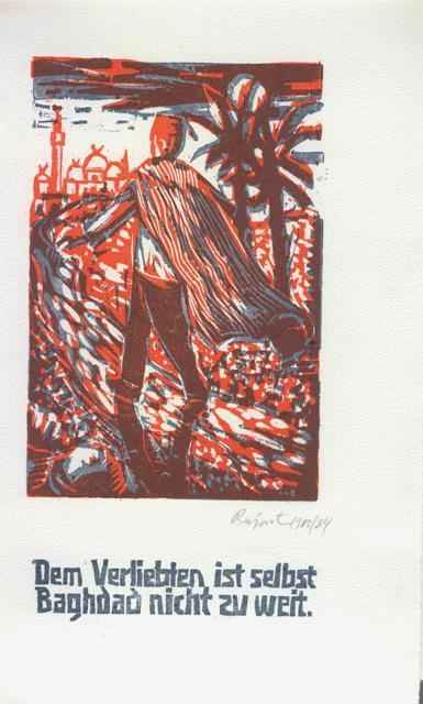 Archibald Bajorat - Farbholzschnitt 1983 - aus der Reihe -Osmanische Sprüche - Dem Verliebten ist selbst Baghdad nicht.. kopen? Bied vanaf 45!