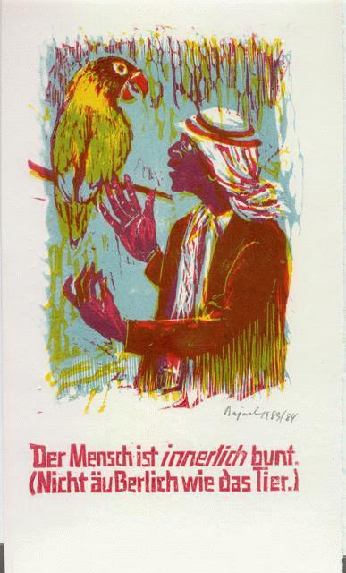 Archibald Bajorat - Farbholzschnitt 1983 - aus der Reihe -Osmanische Sprüche - Der Mensch ist innerlich bunt. kopen? Bied vanaf 45!