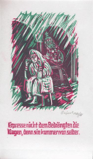 Archibald Bajorat - Farbholzschnitt 1983 - aus der Reihe -Osmanische Sprüche - Erpresse nicht dem Bedrängten.... kopen? Bied vanaf 45!