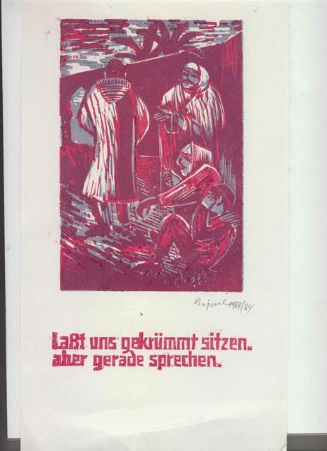 Archibald Bajorat - Farbholzschnitt 1983 - aus der Reihe -Osmanische Sprüche - Laßt uns gekrümmt sitzen.... kopen? Bied vanaf 45!