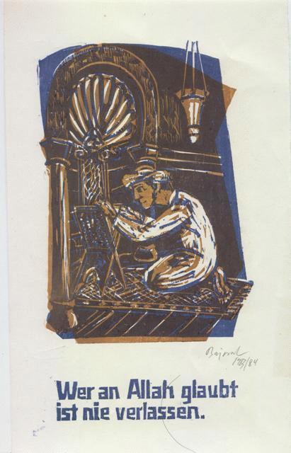 Archibald Bajorat - Farbholzschnitt 1983 - aus der Reihe -Osmanische Sprüche - Wer an Allah glaubt .... kopen? Bied vanaf 45!