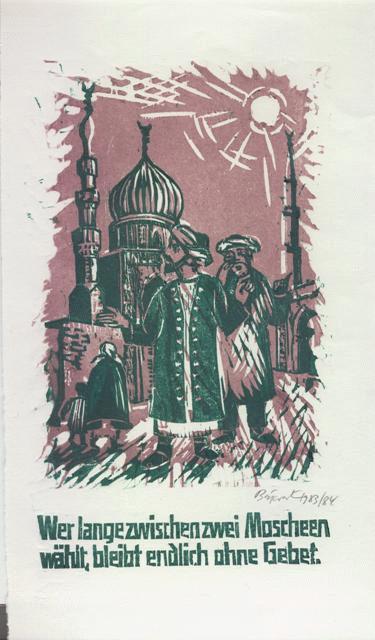 Archibald Bajorat - Farbholzschnitt 1983 - aus der Reihe -Osmanische Sprüche - Wer lange zwischen zwei Moscheen wählt .. kopen? Bied vanaf 45!