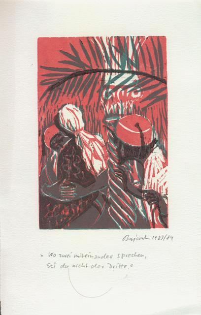 Archibald Bajorat - Farbholzschnitt 1983 - aus der Reihe -Osmanische Sprüche - Wo zwei miteinander sprechen kopen? Bied vanaf 45!