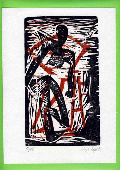 Ingo Regel - Farbholzschnitt auf Papier,Künstler-Handabzug, handsigniert, 1993, Ex.5/10, HGB Leipzig kopen? Bied vanaf 49!