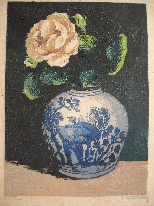 Paul Leschhorn - Farbholzschnitt: Gelbe Rose kopen? Bied vanaf 110!