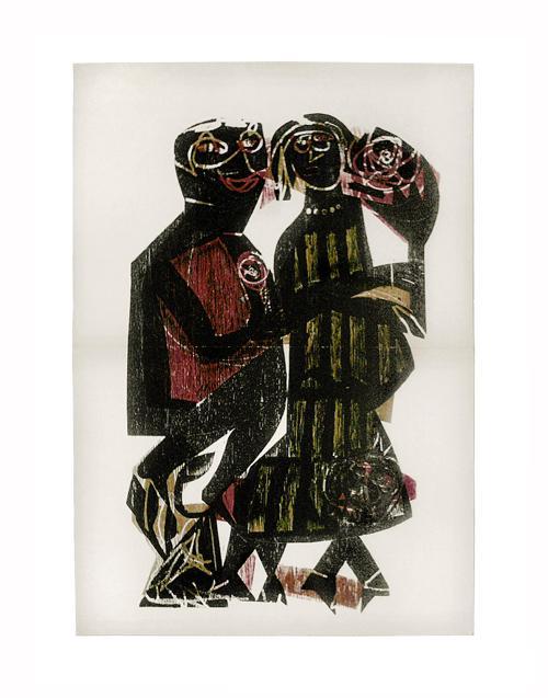 H.A.P. Grieshaber - Farbholzschnitt. Paar mit Hund, 1964 kopen? Bied vanaf 35!