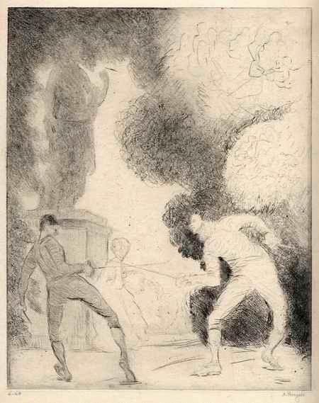 Andreas Roegels - - Fechtende RIVALEN - handsignierte OriginalRadierung des 1917 in BERLIN verstorbenen Künstlers kopen? Bied vanaf 65!