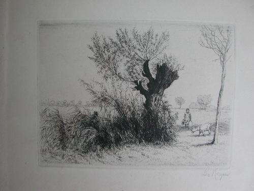 Leo Leopold Kayser - Feinste Radierung um 1920 Kind mit Ziege in Landschaft bei Darmstadt, signiert kopen? Bied vanaf 30!