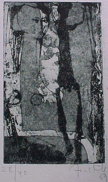 Rosemarie Finkh - Figur mit Giacometti, Aquatinta-Radierung 1969 kopen? Bied vanaf 30!