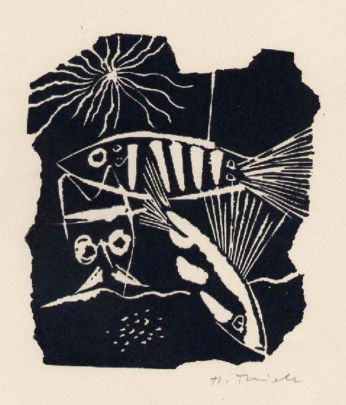 Herbert Thiele - FISCHE - Handsignierter OriginalHolzschnitt des ILLUSTRATOREN aus ZWICKAU 1949 (Alois KOLB/THIEMANN) kopen? Bied vanaf 45!