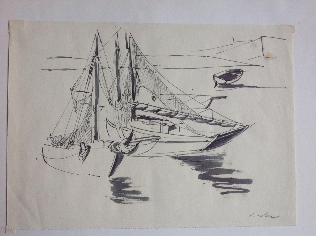 Rudolf Riester - Fischerboote am Strand, Tuschzeichnung kopen? Bied vanaf 60!