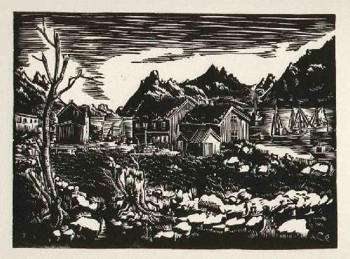 Gottfried Richter - FISCHERBOOTE BERGE HÜTTEN - handsignierter OriginalLinolschnitt NORWEGEN-Impressionen des BERLINers kopen? Bied vanaf 55!