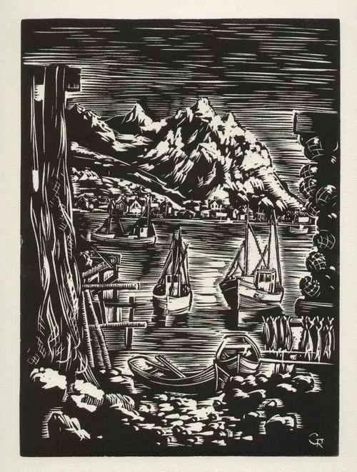 Gottfried Richter - - FISCHERBOOTE - OriginalLinolschnitt - wohl NORWEGEN-Impressionen des DDR-Übersiedlers - um 1942 - kopen? Bied vanaf 55!
