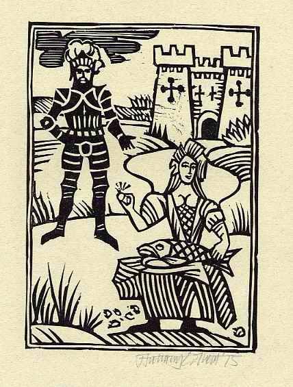 Anthony Colbert - FISH & RING - OriginalLinolschnitt des PENGUIN BOOKS-Illustrators - 1975 handsigniert kopen? Bied vanaf 25!
