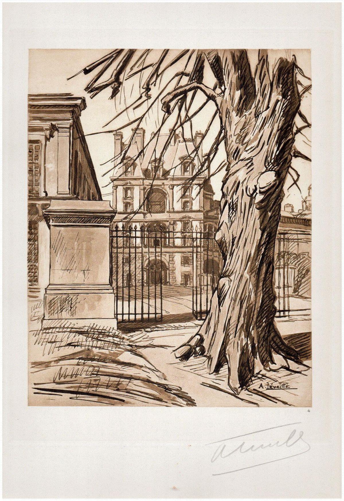 Andrèi Lèveillè - FONTAINEBLEAU - 1925 La PORTE DORÉE - Das GOLDENE TOR - Handsignierte OriginalLithographie kopen? Bied vanaf 65!