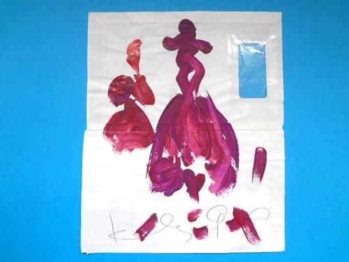 Klaus Hähner-Springmühl - Fototüde figurativ bemalt, Unikat, vorn handsigniert vom Künstler, Rarität, 1996, ca. 30x30cm kopen? Bied vanaf 490!