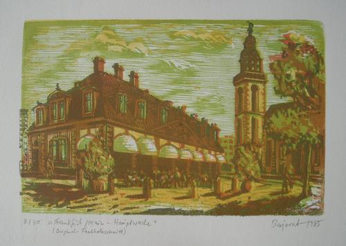 Archibald Bajorat - Frankfurt Hauptwache, Farbholzschnitt von 1985, handsign. kopen? Bied vanaf 70!