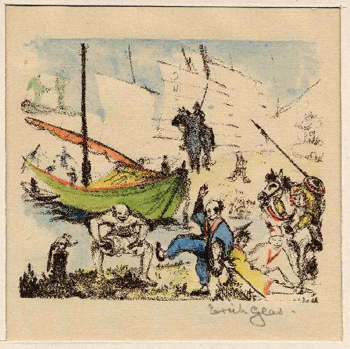 Erich Glas - FREUDENTANZ - Signierte & colorierte OriginalLithographie zum TOSA NIKKI des Ki No TSURAYUKI (JAPAN) kopen? Bied vanaf 55!