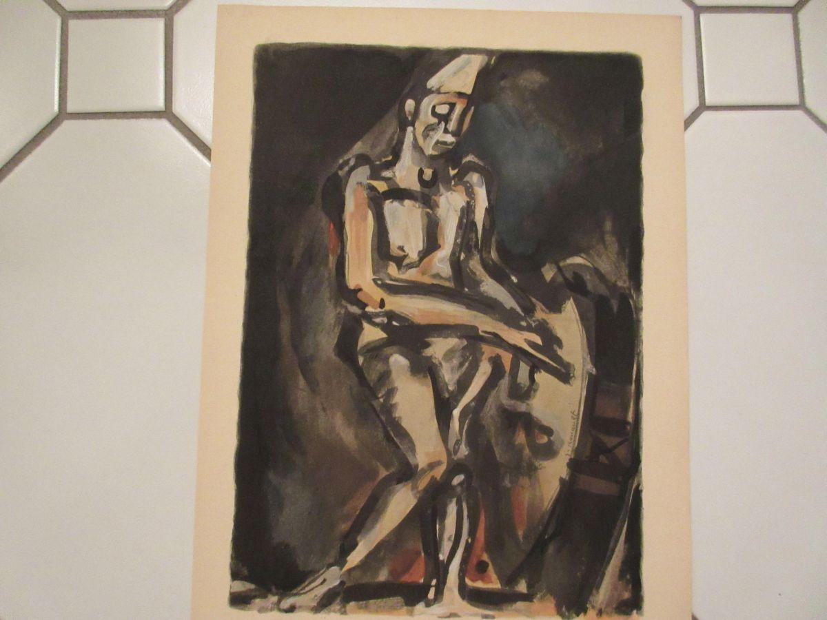 """Georges Rouault - Georges Rouault """" CLOWN MUSICIEN"""" from Douze Contemporains, Lithographie kopen? Bied vanaf 160!"""