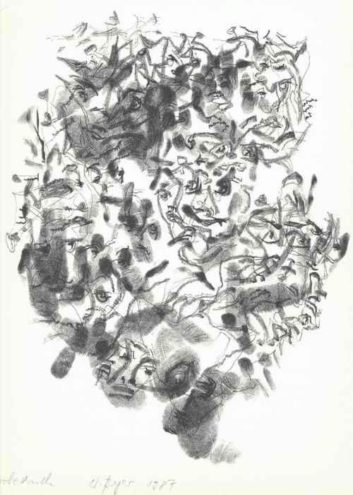 Wolfgang Berger - - GESICHTER - handsignierte OriginalLithographie des Malers & Autoren 1987 - LEIPZIGER BLAUE REITER kopen? Bied vanaf 55!