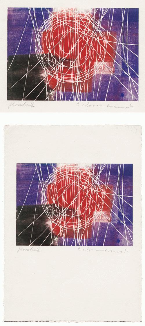 Rupert Rosenkranz - Glasschnitt. abstrakte Komposition, signiert 1960. kopen? Bied vanaf 30!