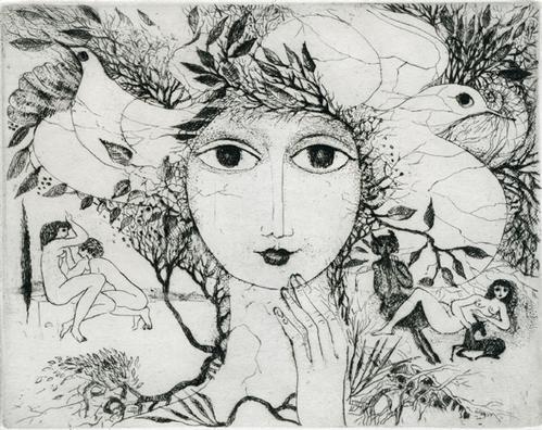 Elfriede Weidenhaus - Glauke,Portrait einer Nymphe, Radierung, 1980 kopen? Bied vanaf 90!