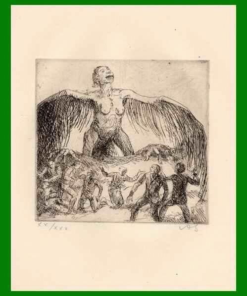 Adolf Schinnerer - GRÜNDER der NEUE SEZESSION MÜNCHEN - Handsignierte OriginalRadierung - ENGEL über UNS - 1921 kopen? Bied vanaf 95!