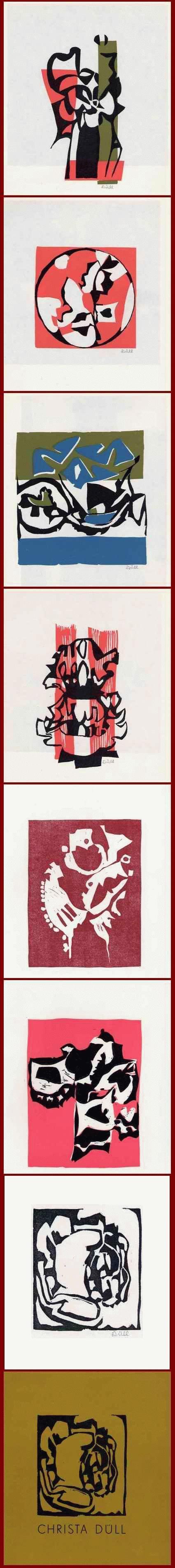 Christa Düll - - GRUPPE VIER - 8 OriginalLinolschnitte der MEISTERSCHÜLERIN bei Karl HOFER - 5 x handsigniert 1982 kopen? Bied vanaf 65!