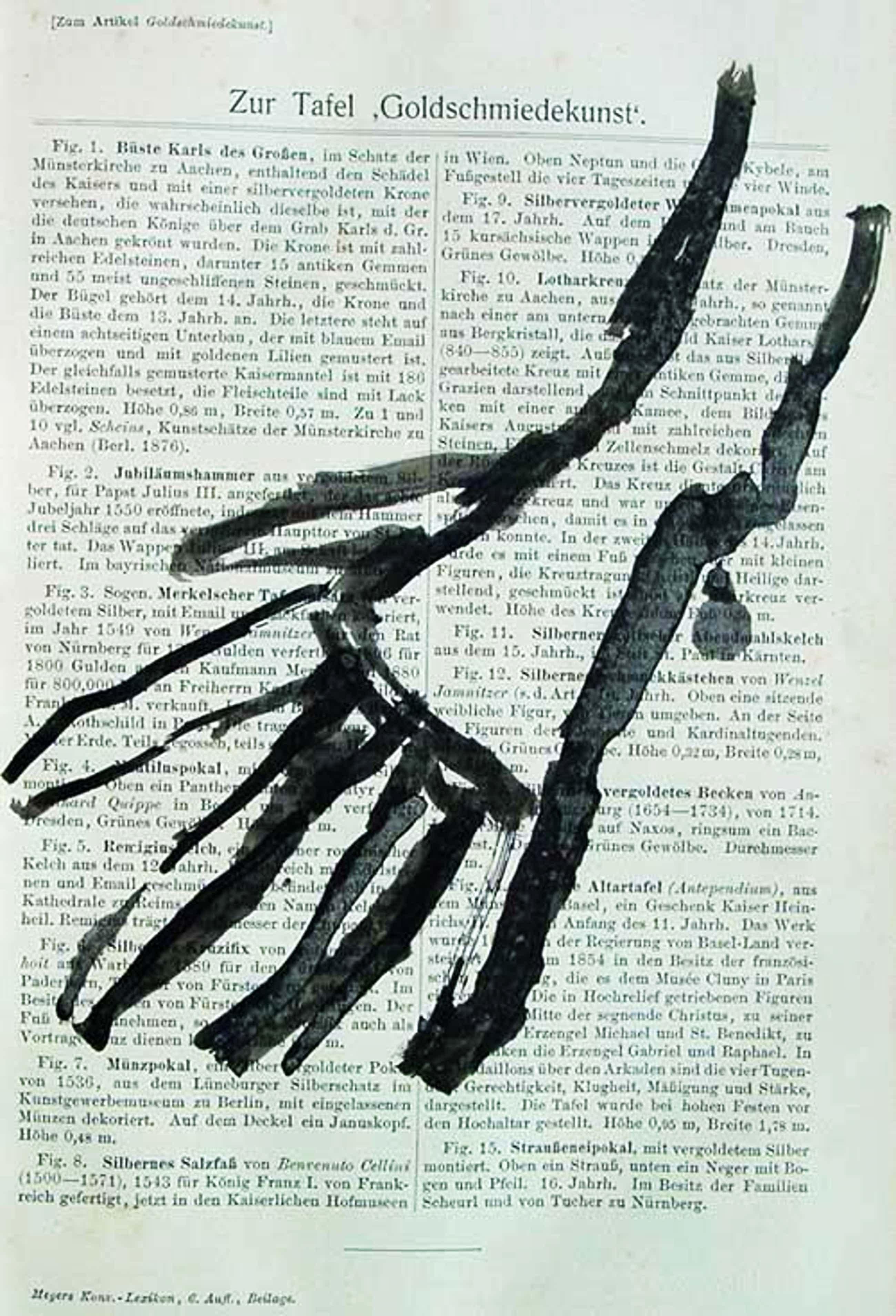 A.R. Penck - - Hand - Original-Tuschezeichnung auf Lexikonseite, 1961 kopen? Bied vanaf 390!