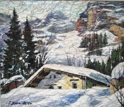 Toni Schmiderer - Haus im winterlichen Gebirge (wohl bei Saalfelden), Aquarell in Knittertechnik kopen? Bied vanaf 120!