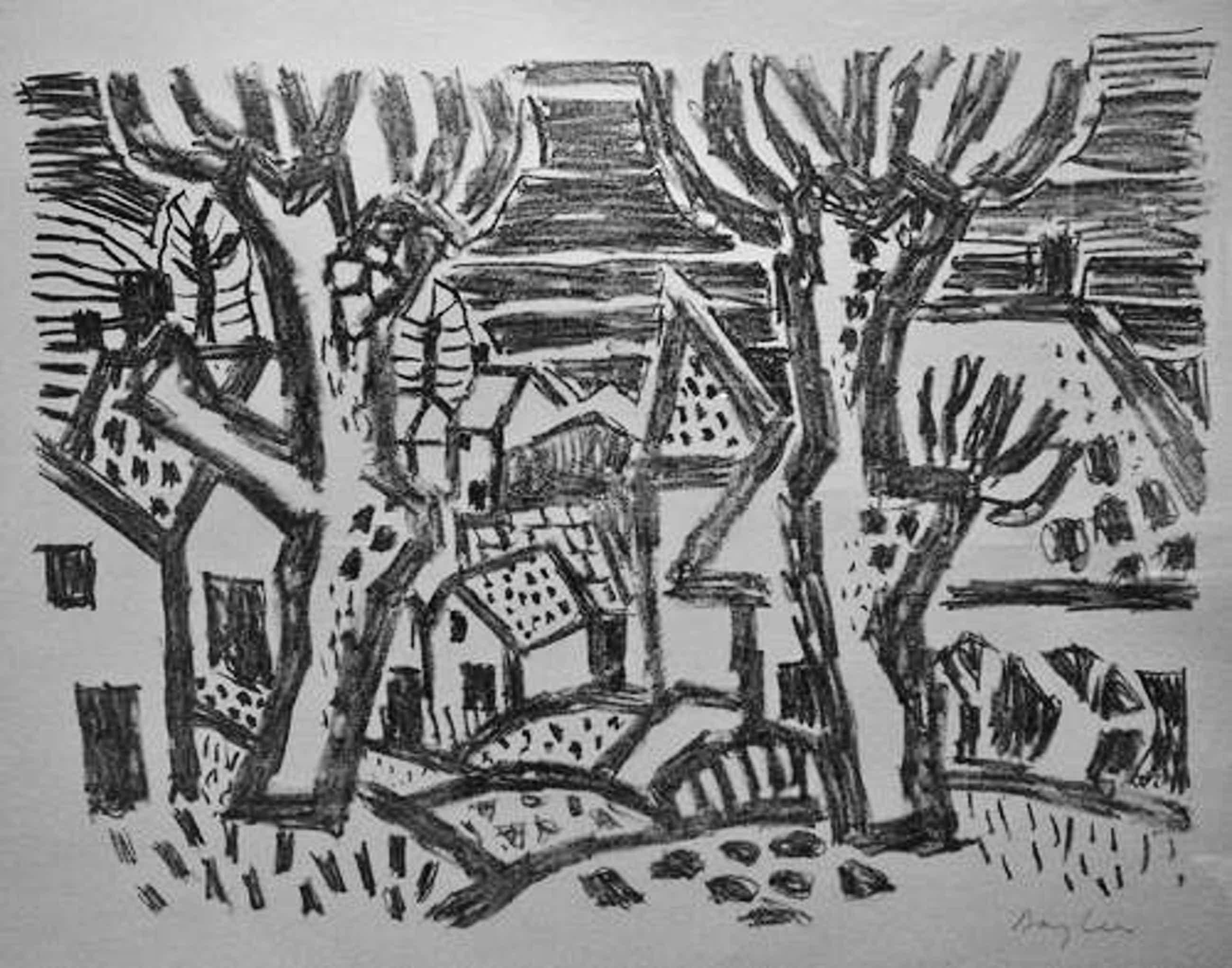 Eduard Bargheer - Häuser in Blankenese - handsignierte Lithographie auf Bütten, 1955 kopen? Bied vanaf 120!