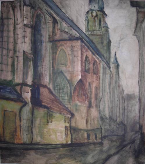 Willibald Kramm - Heiliggeistkirche Heidelberg Mischtechnik 1941 kopen? Bied vanaf 850!