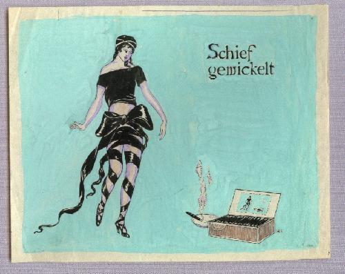 Herbert Rolf Schlegel - Herbert Rolf Schlegel Aquarell Schief gewickelt Zigarrenreklame kopen? Bied vanaf 250!