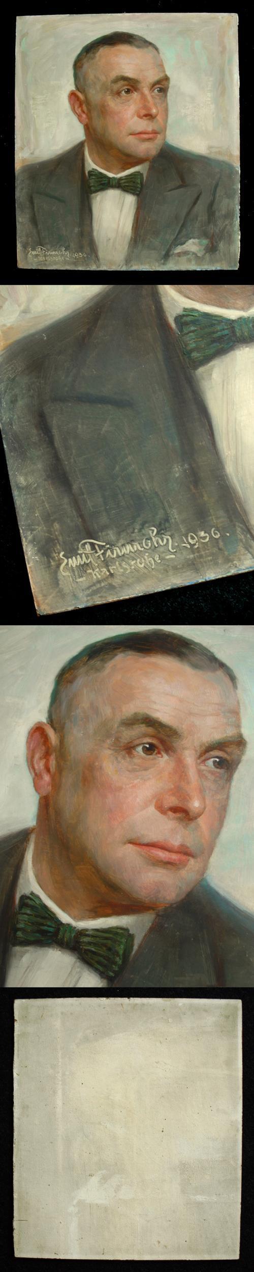 Emil Firnrohr - Herrenbildnis. Öl auf Hartfaser, 1936. kopen? Bied vanaf 400!