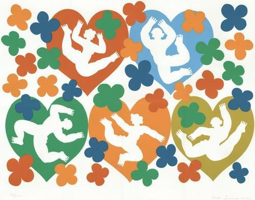Herbert Schneider - Herz x 5, Farbserigrafie kopen? Bied vanaf 80!