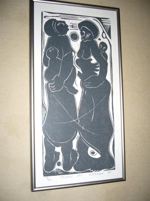 Ezekiel Madiba - Holzschnitt, 1-farbig schwarz, 1980 kopen? Bied vanaf 200!