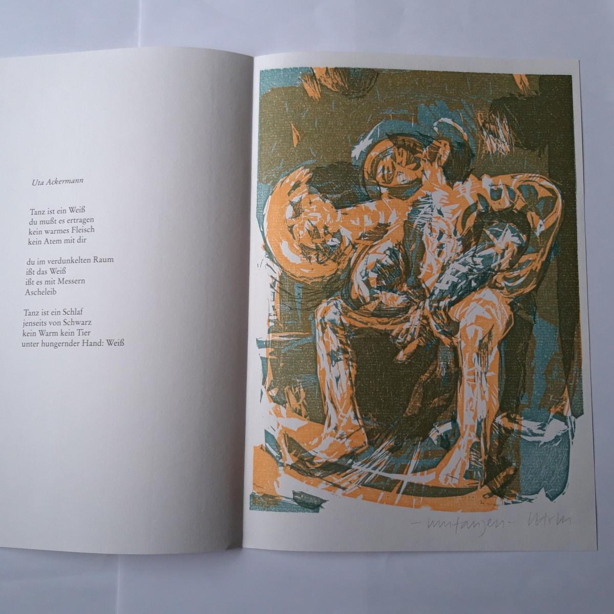 Susann Hoch - HOLZSCHNITT IN 2 FARBEN ZU ACKERMANN-GEDICHT, 1995 kopen? Bied vanaf 75!