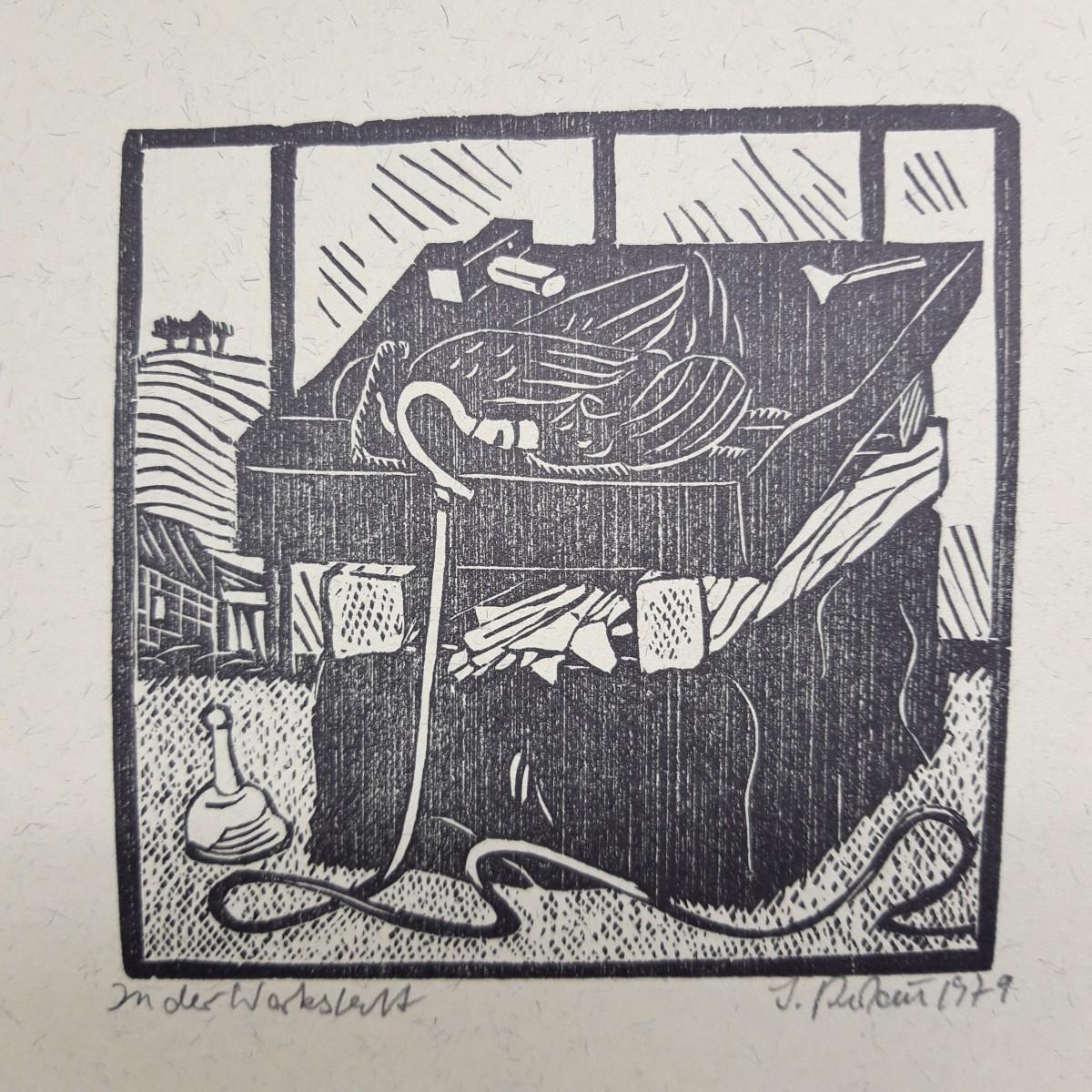 Jochem Pechau - Holzschnitt 'In der Werkstatt', 1979 kopen? Bied vanaf 65!