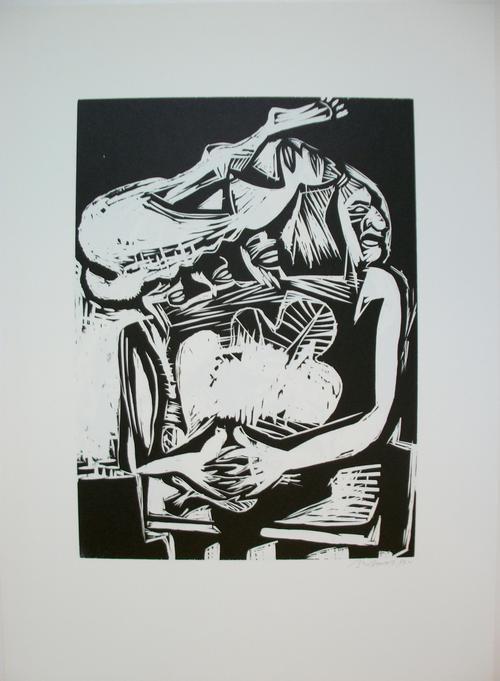 Ina Barfuss - Holzschnitt, Mensch u. Vogel 1985 kopen? Bied vanaf 185!