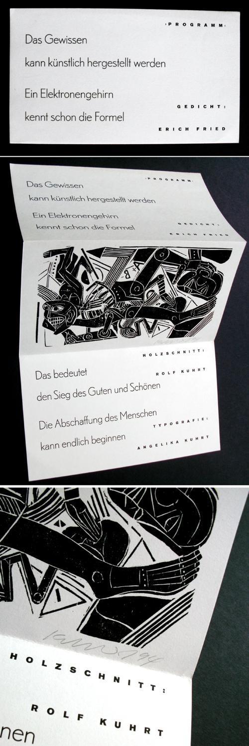Rolf Kuhrt - Holzschnitt zu Erich Fried, 1994. kopen? Bied vanaf 60!