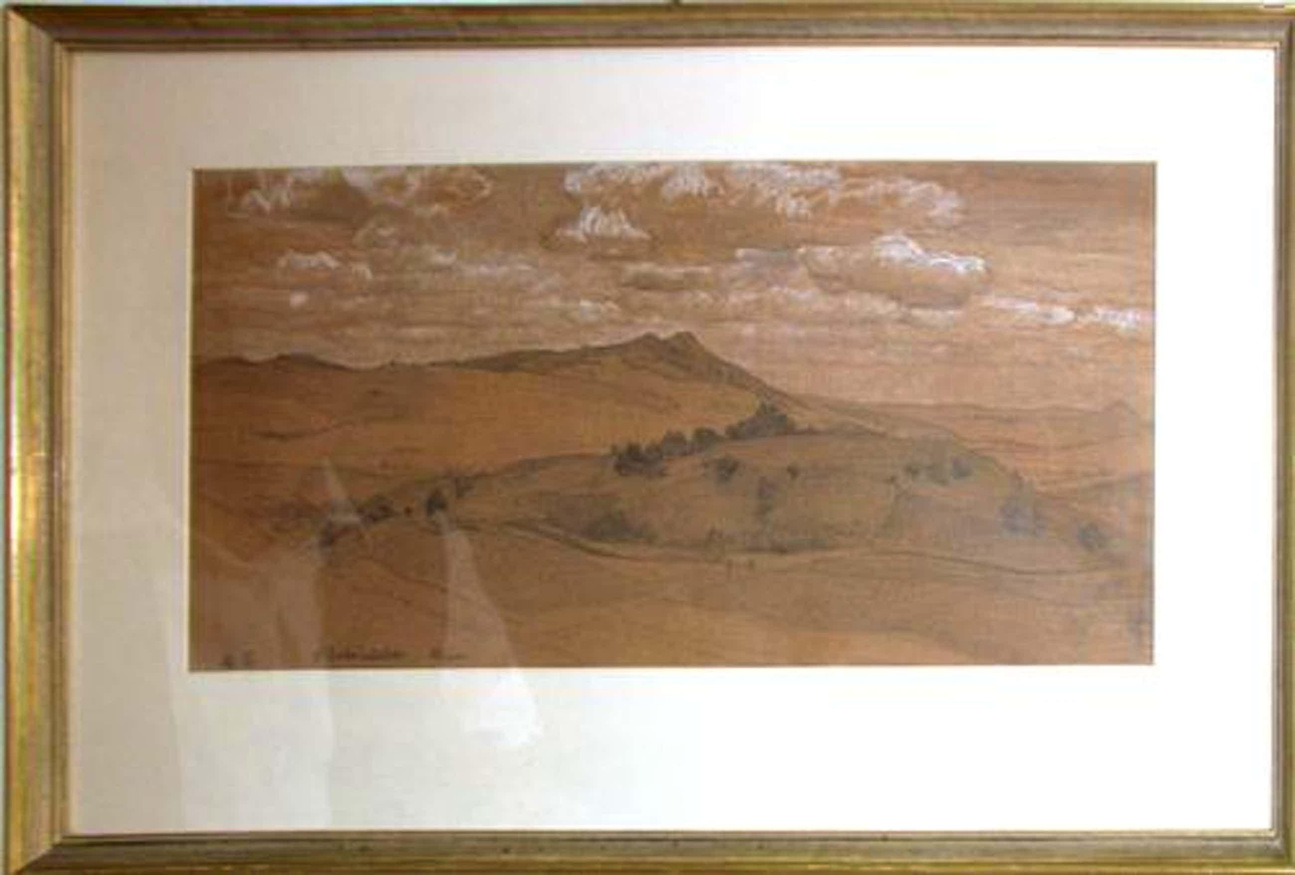 Gustav Schönleber - Hügelige Landschaft original arbeit auf papier kopen? Bied vanaf 1200!