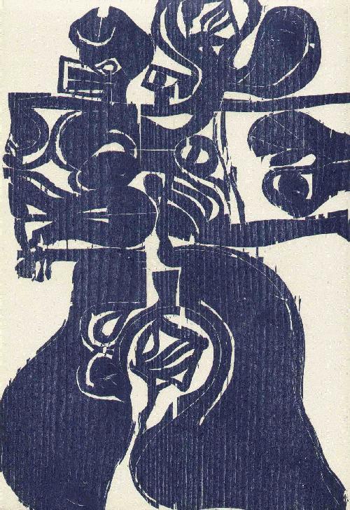 Carlos Duss - IMAGINÄRE LANDSCHAFT - Handsignierter OriginalHolzschnitt des SCHWEIZer Illustratoren aus SEVILLA kopen? Bied vanaf 42!